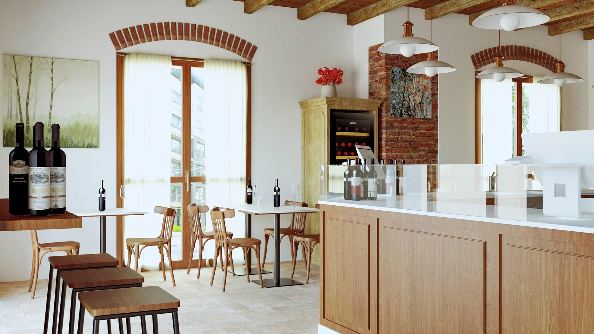 Progettazione e render Bar in stile rustico. Località: Salerno
