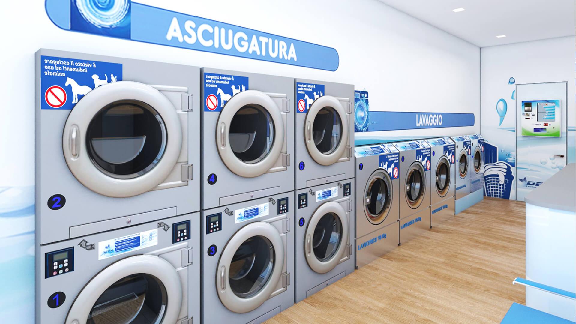 Progettazione e render lavanderia Self Service; Luogo Pavia