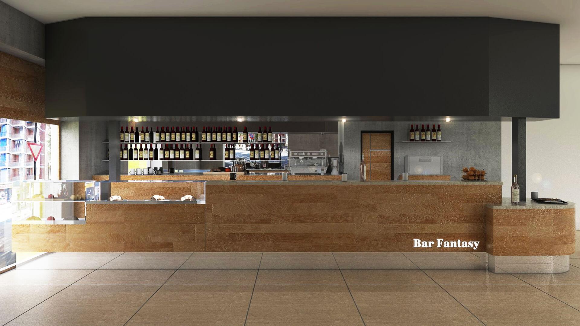 Render Bancone per il Bar Fantasy. Località: Torino