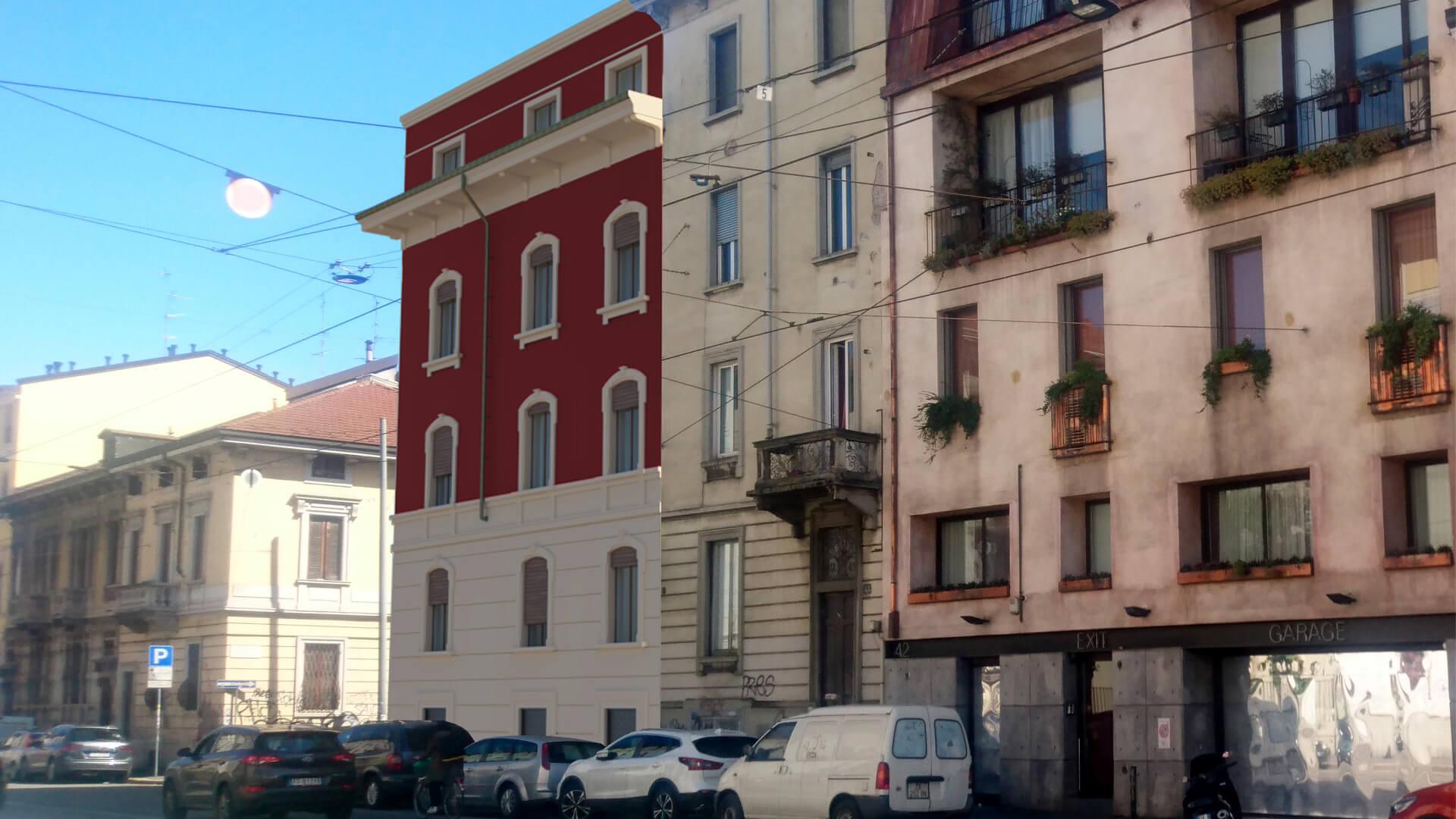 Render e fotoinserimento edificio storico Luogo Milano