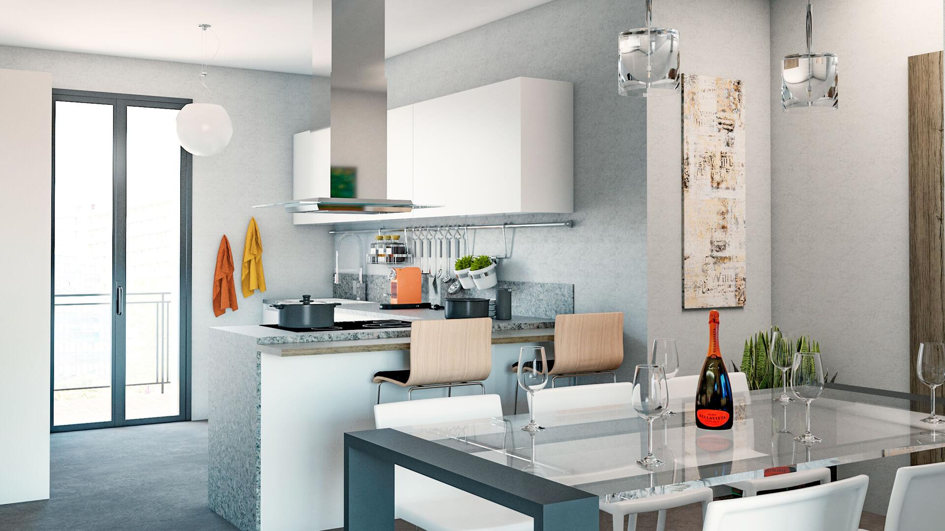 Progettazione e render appartamento. Località: Melegnano (MI)