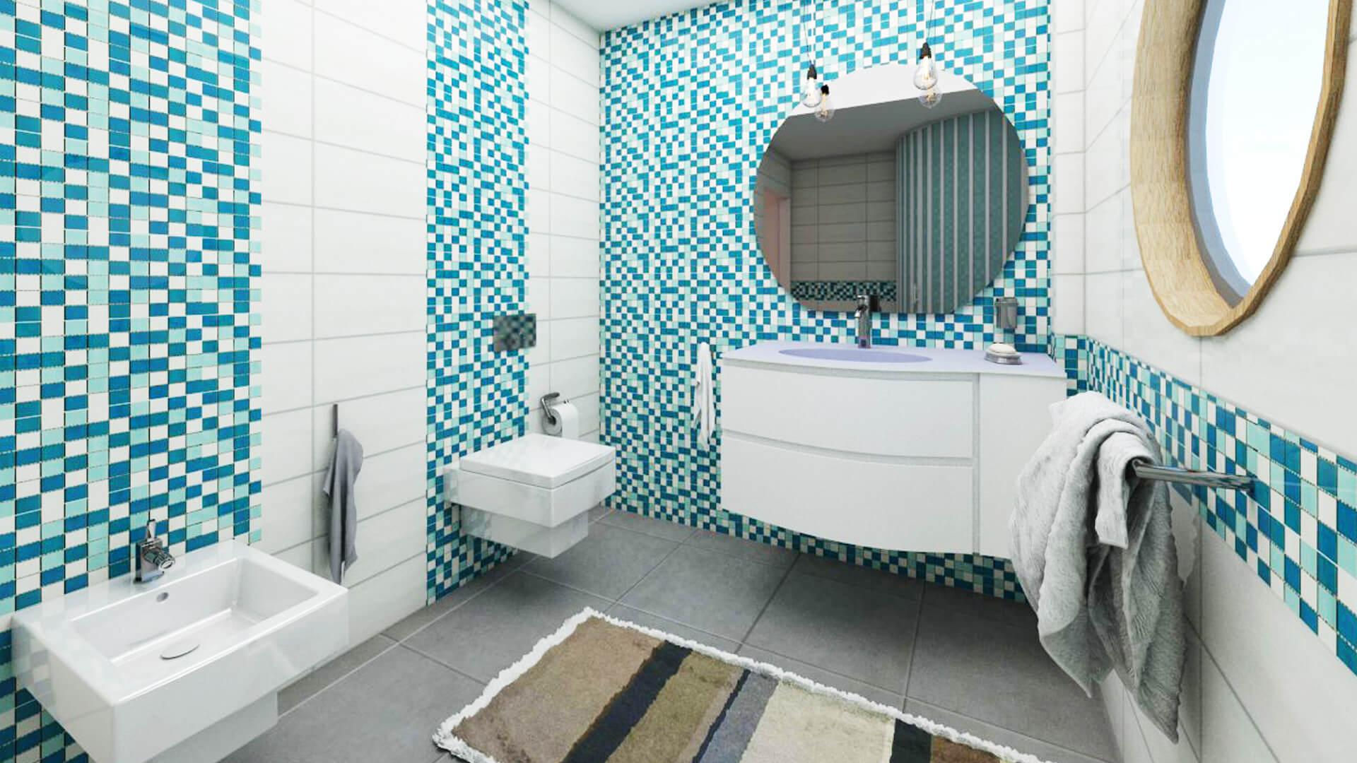 Progettazione e render cucina e bagni Villa Banchiero. Località Varese