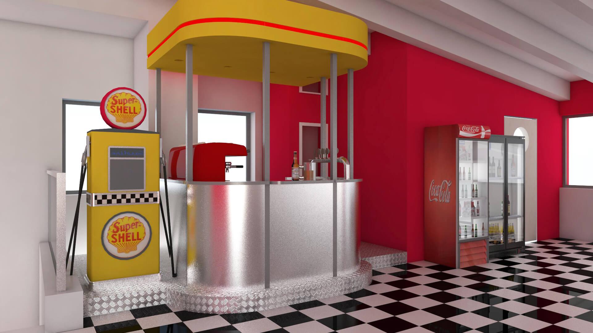 Render nuovo bar per la Shell. Località: Pesaro