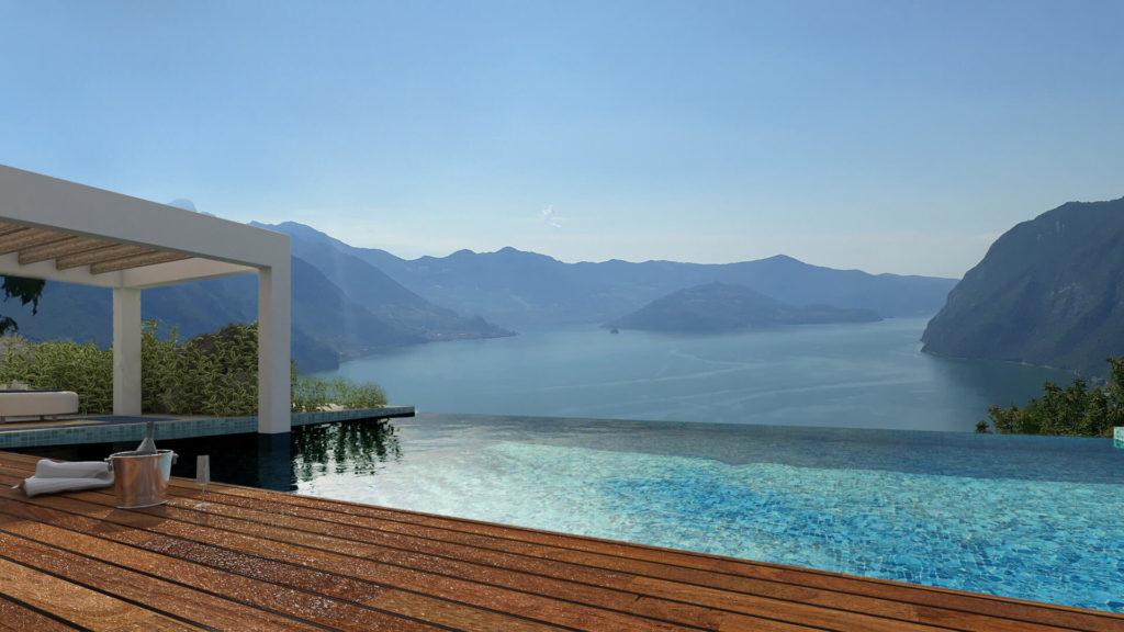 Render per lussuosa location sul lago. Località: Bergamo