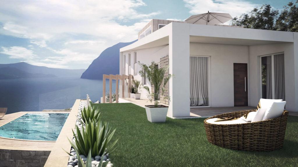 Render villa bifamiliare con vista lago