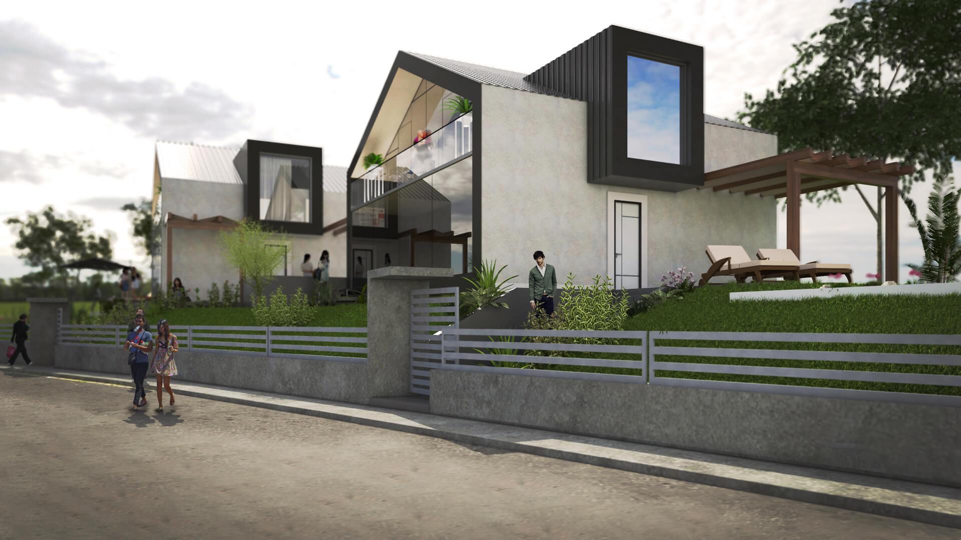 Render villa bifamiliare di nuova realizzazione. Località: San Mauro Torinese (TO)